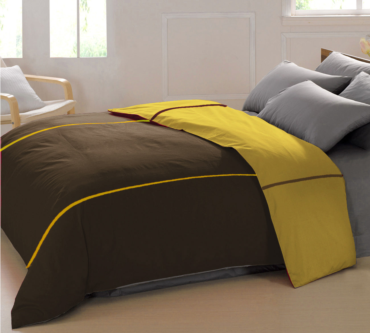 AURAVE Reversible Style Plain Coffee Brown & Mustard 210 TC Mercerised Cotton Duvet Cover/Quilt Cover