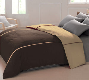 AURAVE Reversible Style Plain Coffee Brown & Camel Brown 210 TC Mercerised Cotton Duvet Cover/Quilt Cover