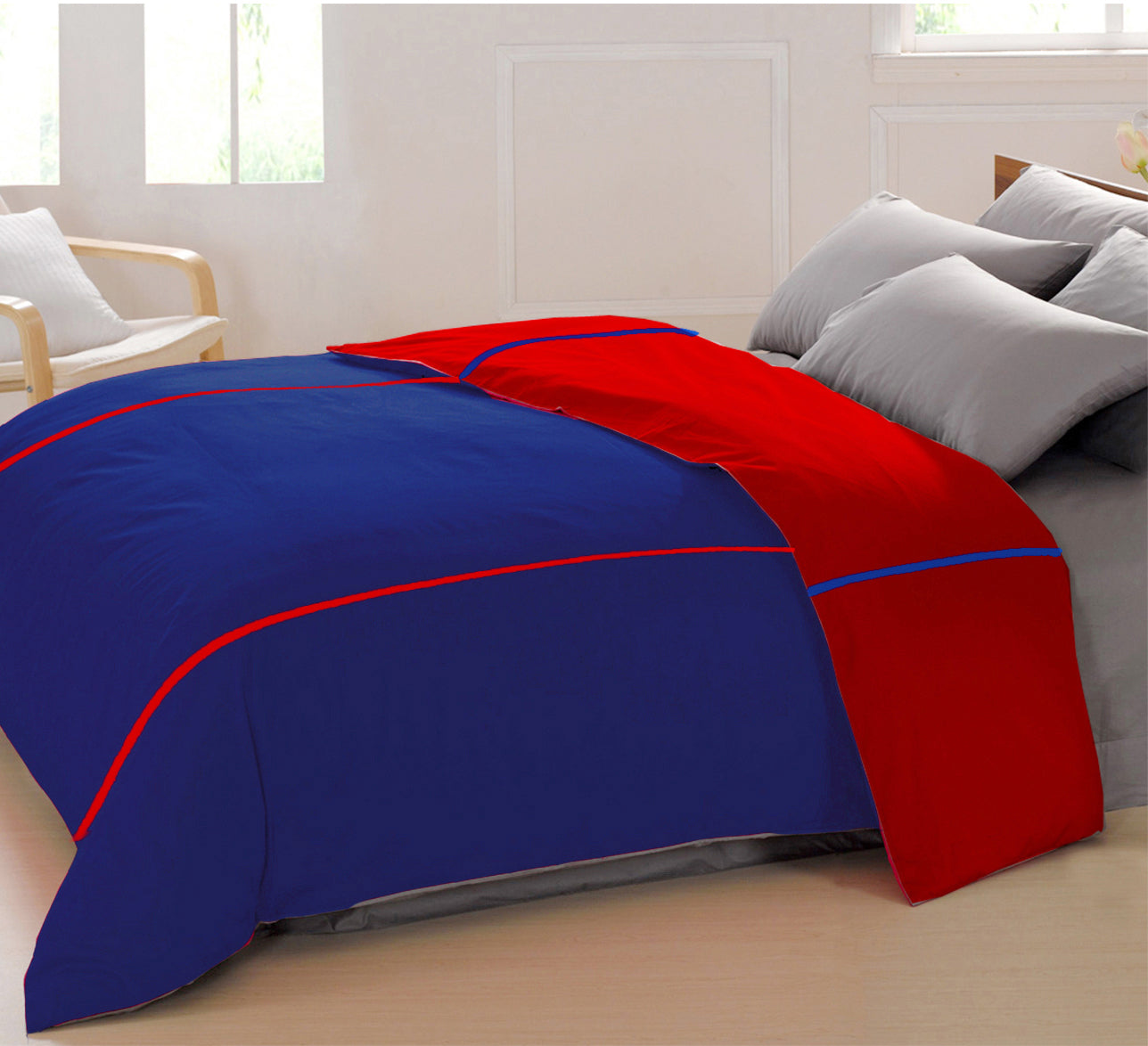 AURAVE Reversible Style Plain Marine Blue & Red 210 TC Mercerised Cotton Duvet Cover/Quilt Cover