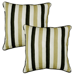 Woven Embossed Stripe Cotton Cushion Cover - Black & Khaki