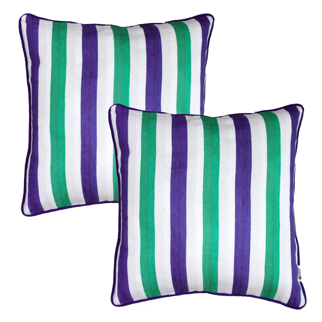 Woven Embossed Stripe Cotton Cushion Cover - Blue & Green