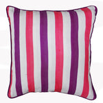 Woven Embossed Stripe Cotton Cushion Cover - Pink & Purple