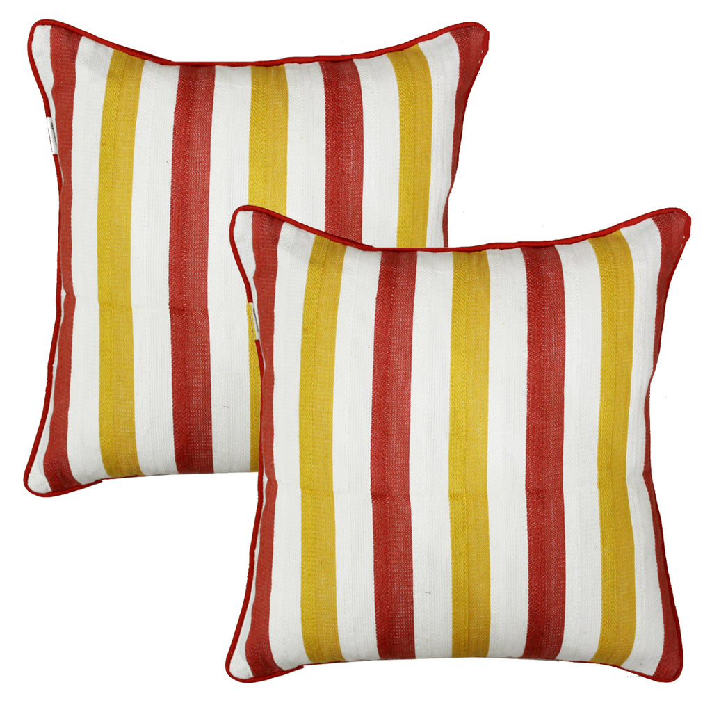 Woven Embossed Stripe Cotton Cushion Cover - Rust & Mustard