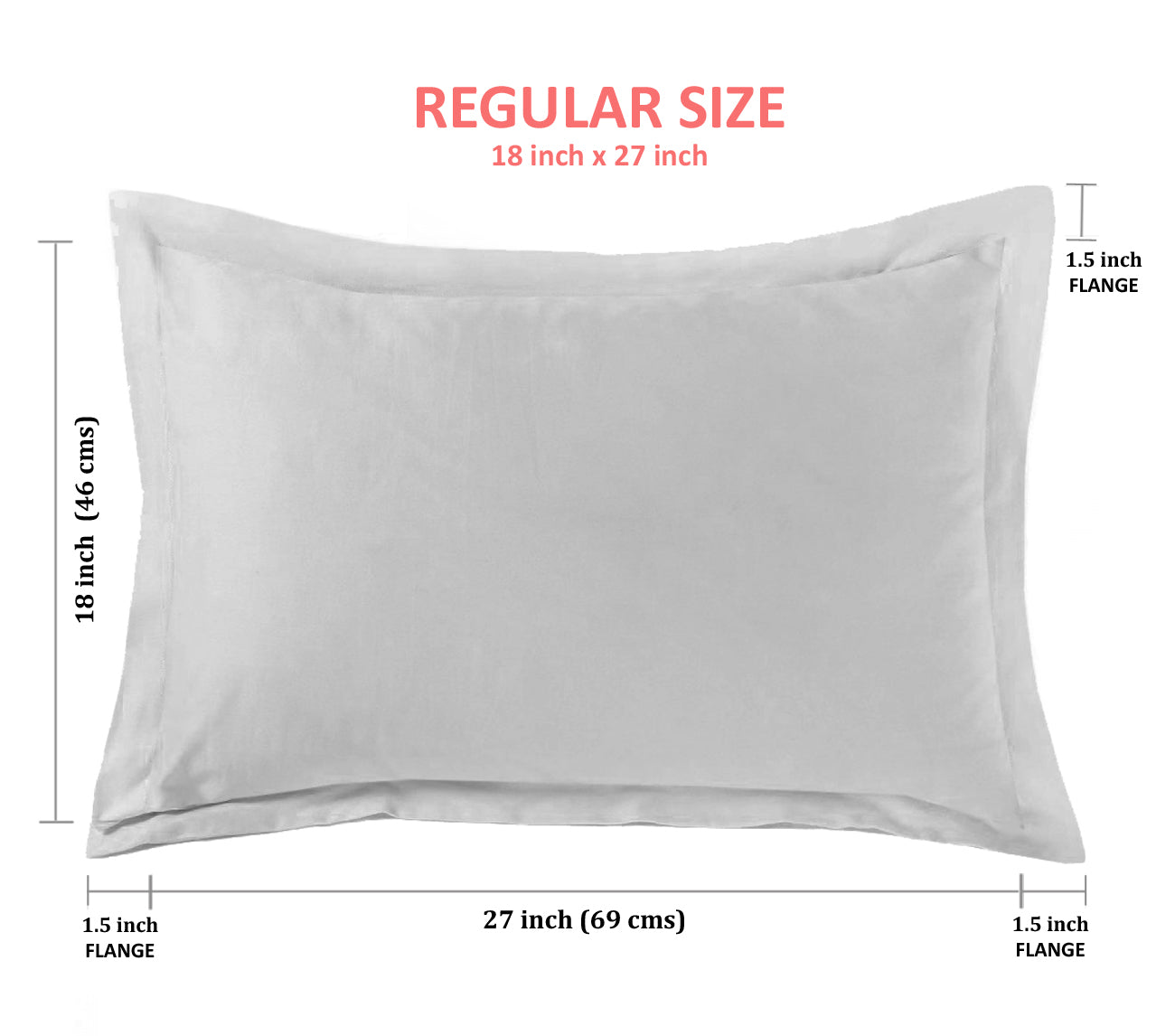 "Aurave Cotton Satin 400 TC Pillow Cover (18""x27""_Coffee Brown)"