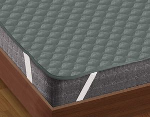 AURAVE Elasticated Quilted Waterproof Mattress Protector (Grey)