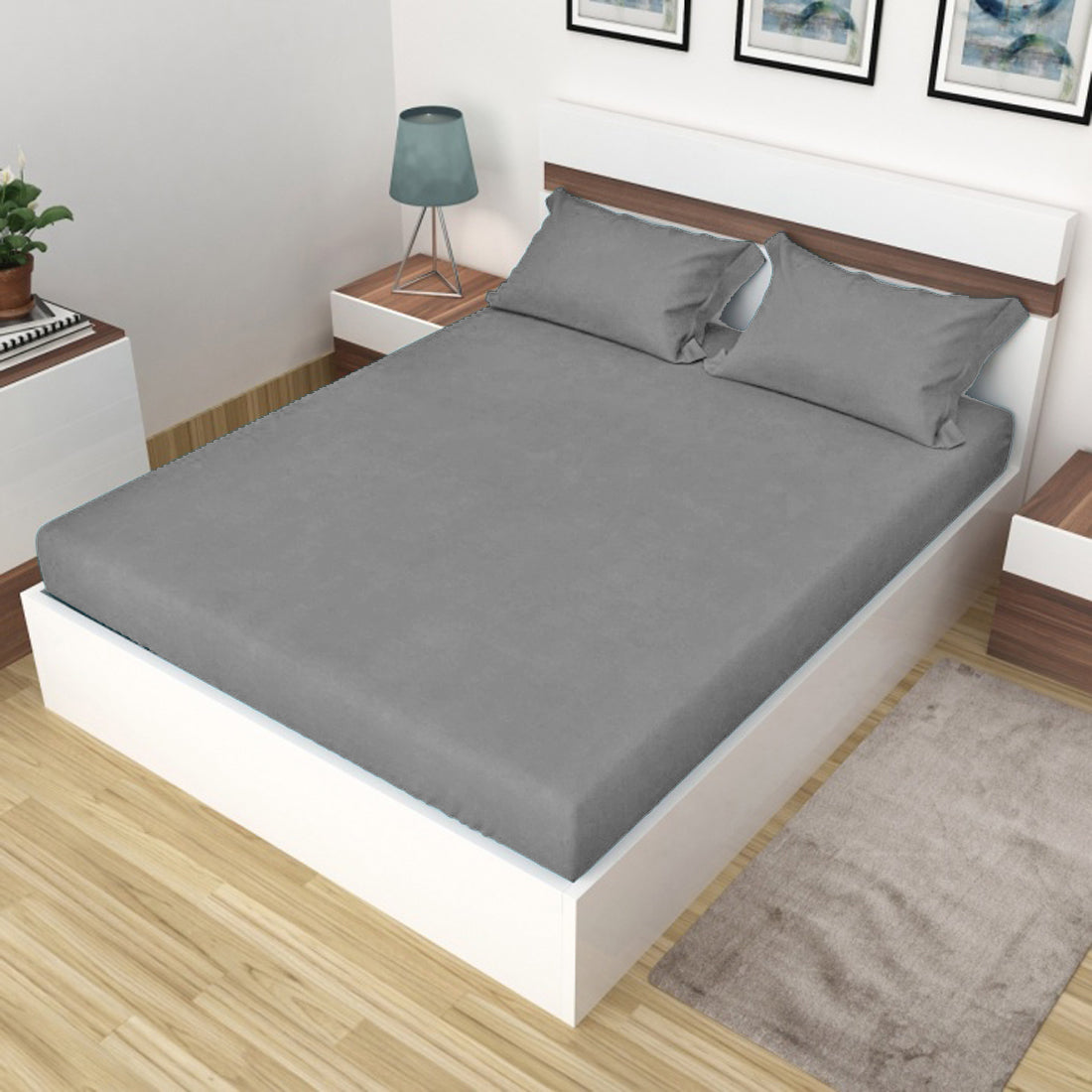 AURAVE Plain Cotton 210 TC Fitted Single Bedsheet - 36 x 72 inches - Grey