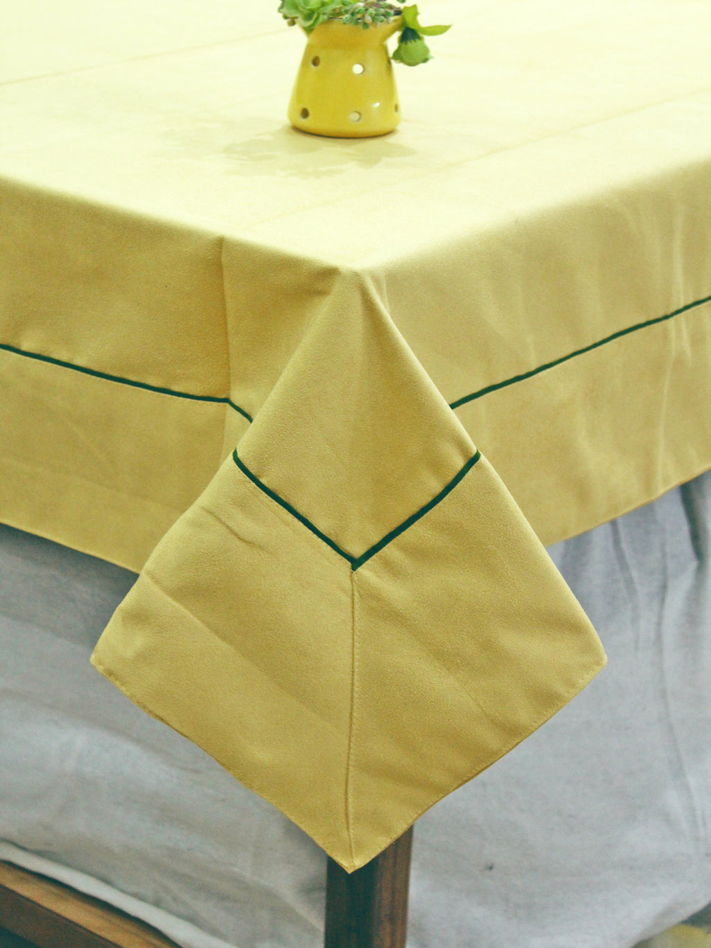 AURAVE Suede Microfibre Solid Plain Polyester Table Cloth - LEMON YELLOW
