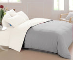 AURAVE Reversible 400 TC Dual Color Silver/White Cotton Satin Luxurious Duvet Cover/Quilt Cover