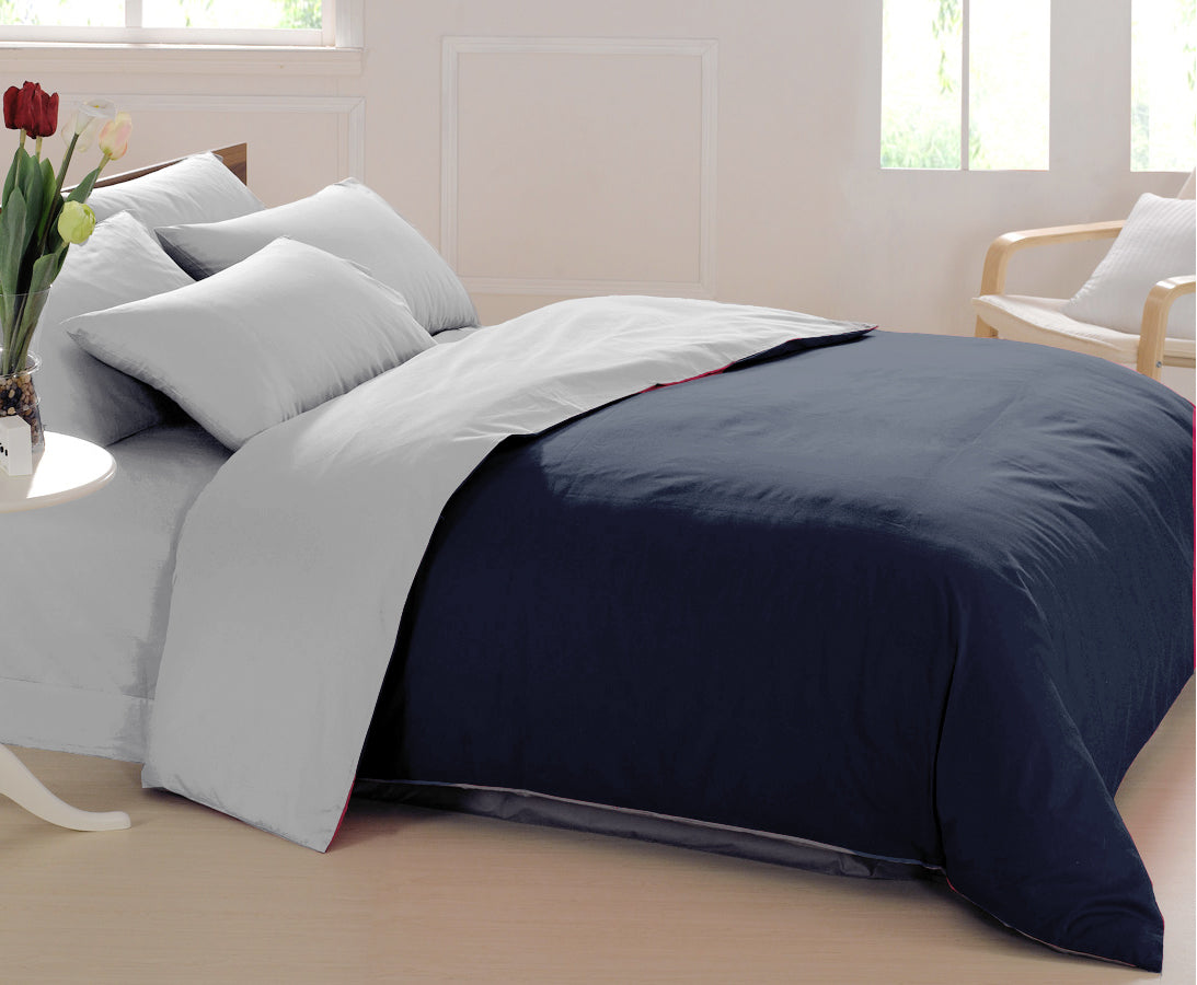 AURAVE Reversible 400 TC Dual Color Navy Blue/Silver Cotton Satin Luxurious Duvet Cover/Quilt