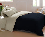 AURAVE Reversible 400 TC Dual Color Black/Khaki Cotton Satin Luxurious Duvet Cover/Quilt