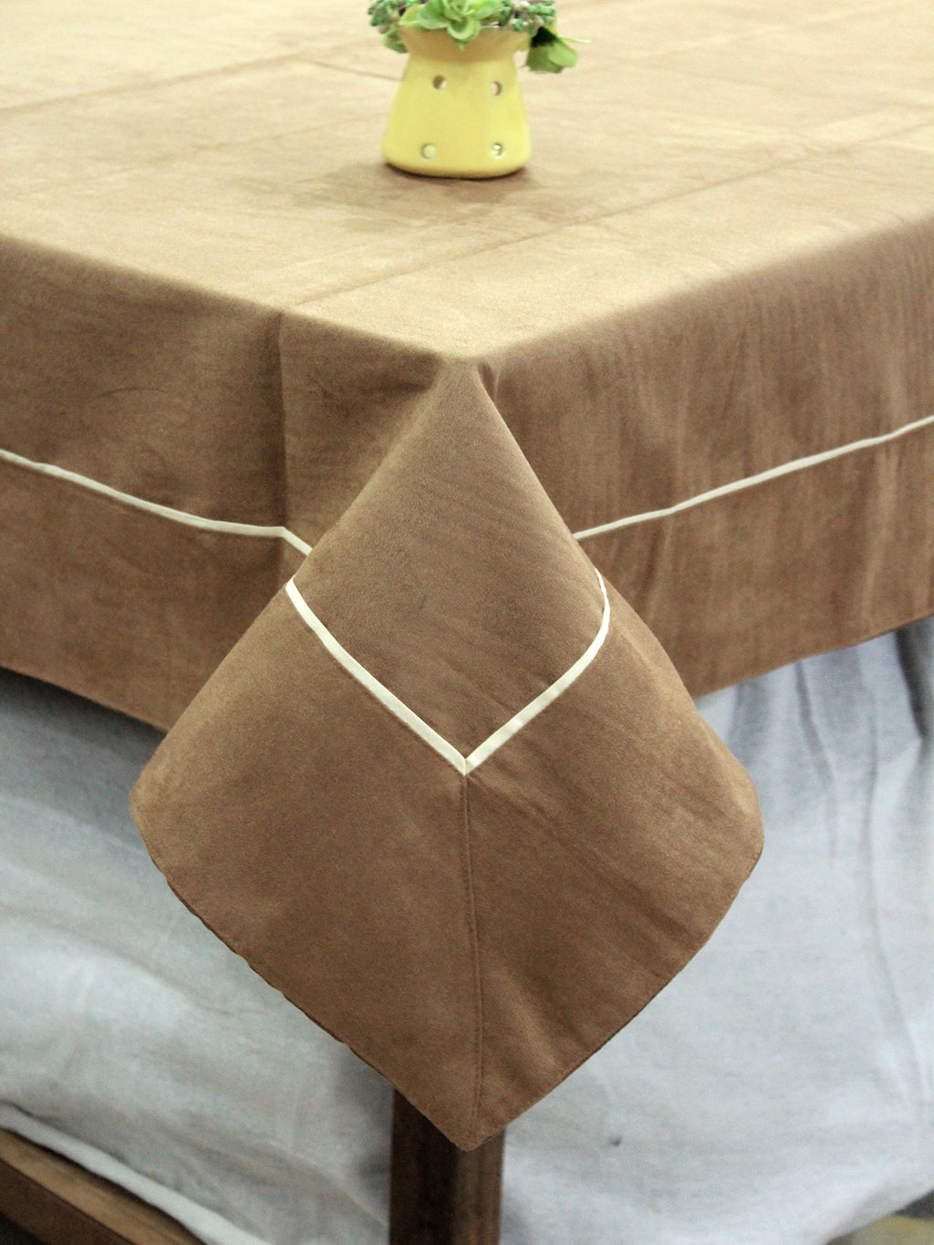 AURAVE Suede Microfibre Solid Plain Polyester Table Cloth - CAMEL BROWN