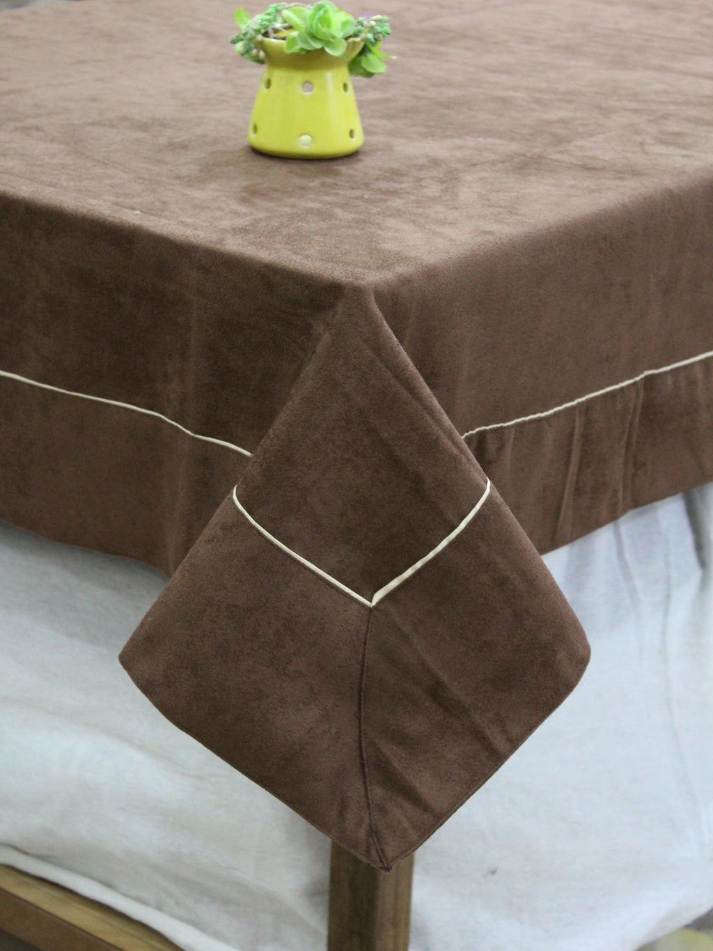 AURAVE Suede Microfibre Solid Plain Polyester Table Cloth - COFFEE BROWN