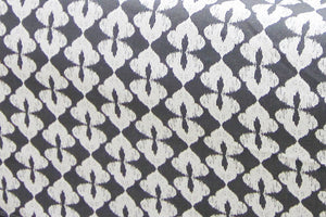 AURAVE Grey & Black Ikat Design Premium Cotton Diwan Set (6 pcs)