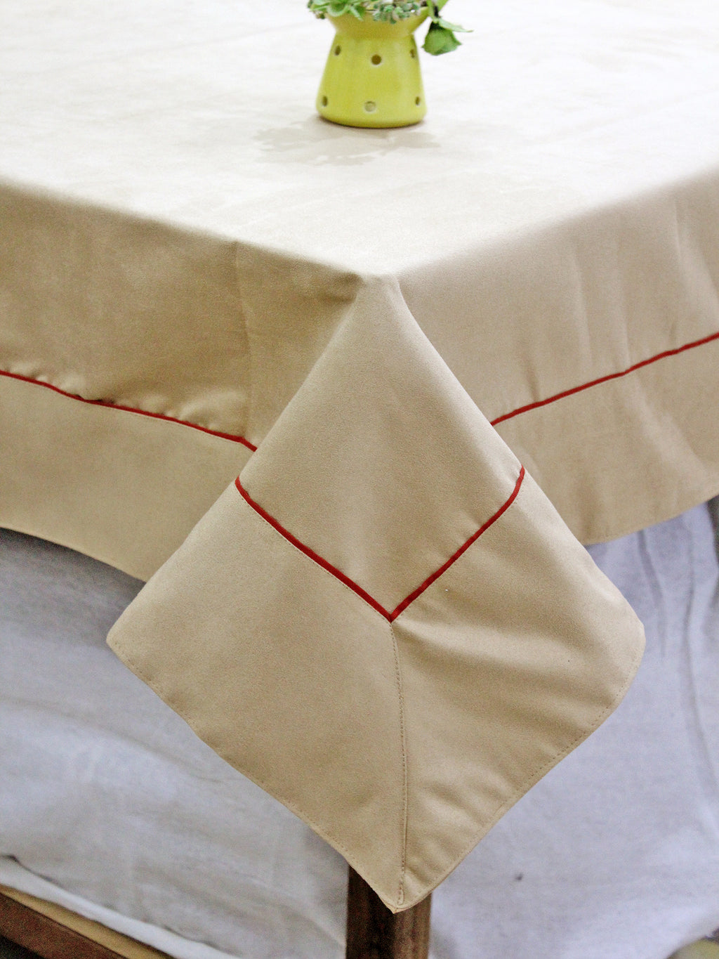 AURAVE Suede Microfibre Solid Plain Polyester Table Cloth - TAN