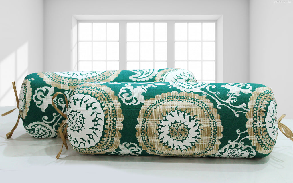 AURAVE Traditional Woven Cotton Green & Brown 2 Pcs Bolster Covers