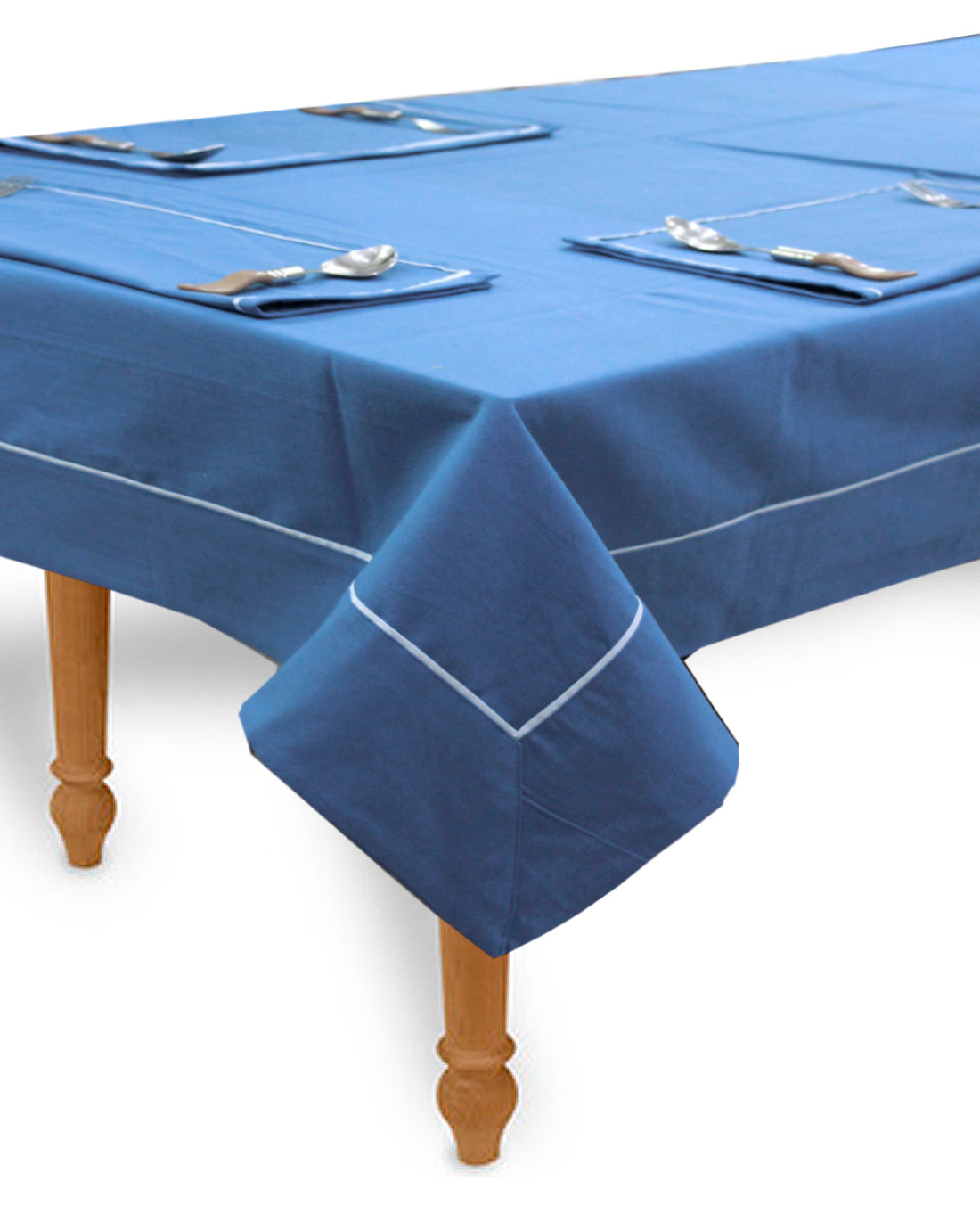 "AURAVE Woven Cotton 200 TC 60""x90"" Plain Table Cover (Blue)"