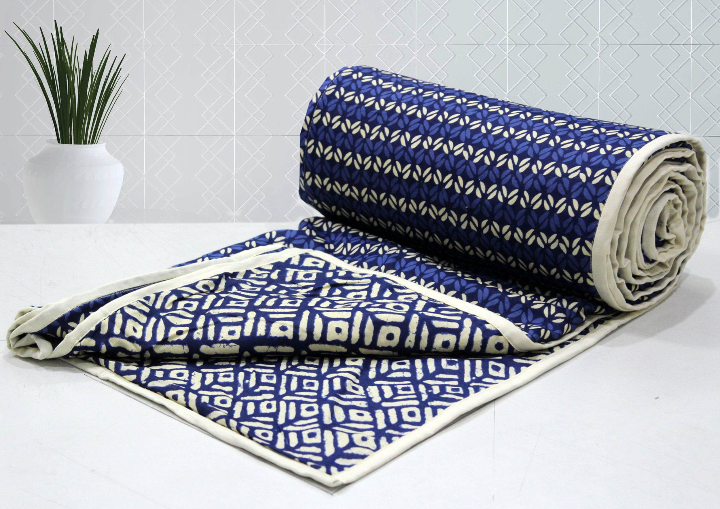 Elba Geometrical Pattern 1 Piece Cotton Reversible AC Dohar, Blue