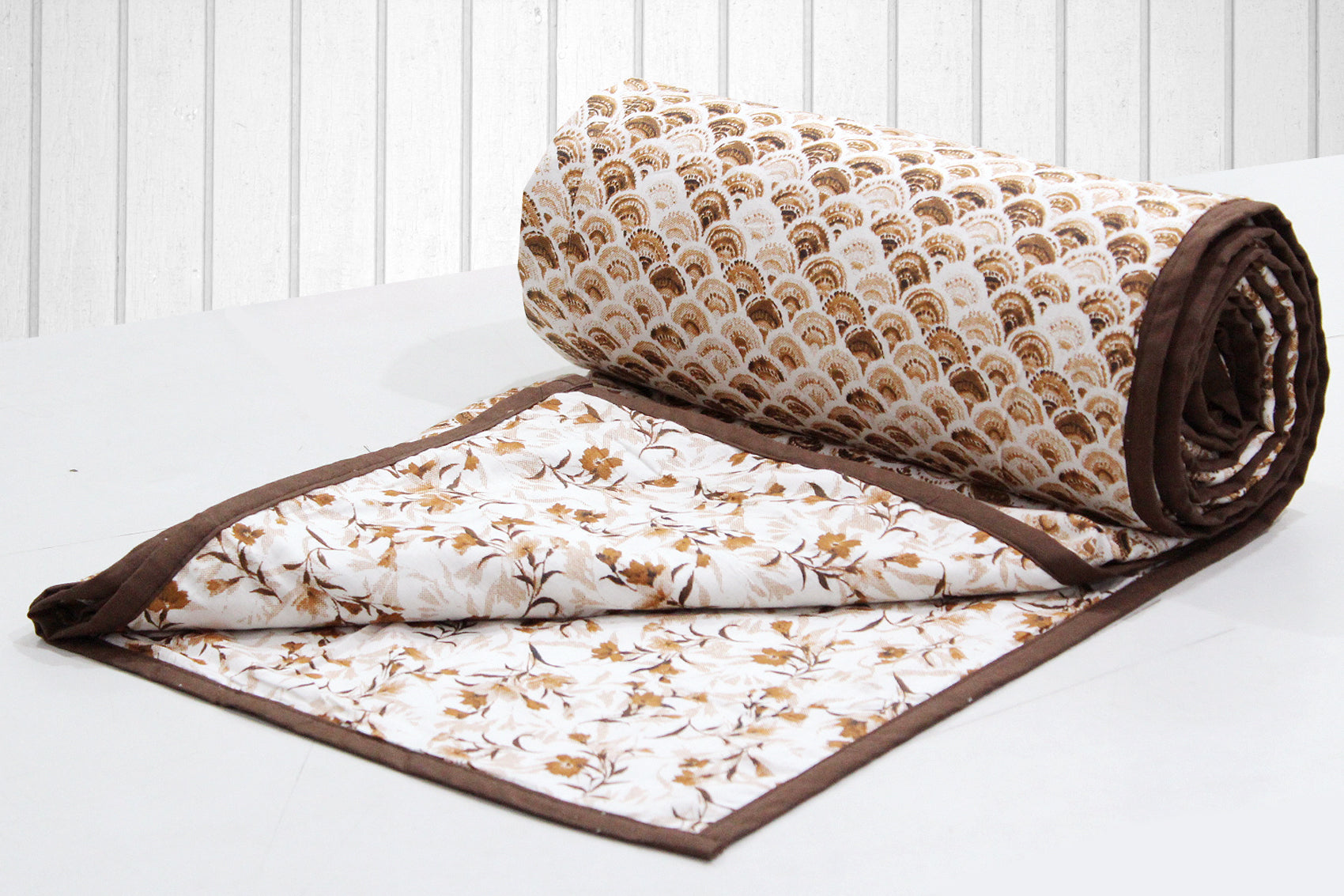 AURAVE Riva Ornamental Pattern Cotton 1 Pc AC Dohar, Brown