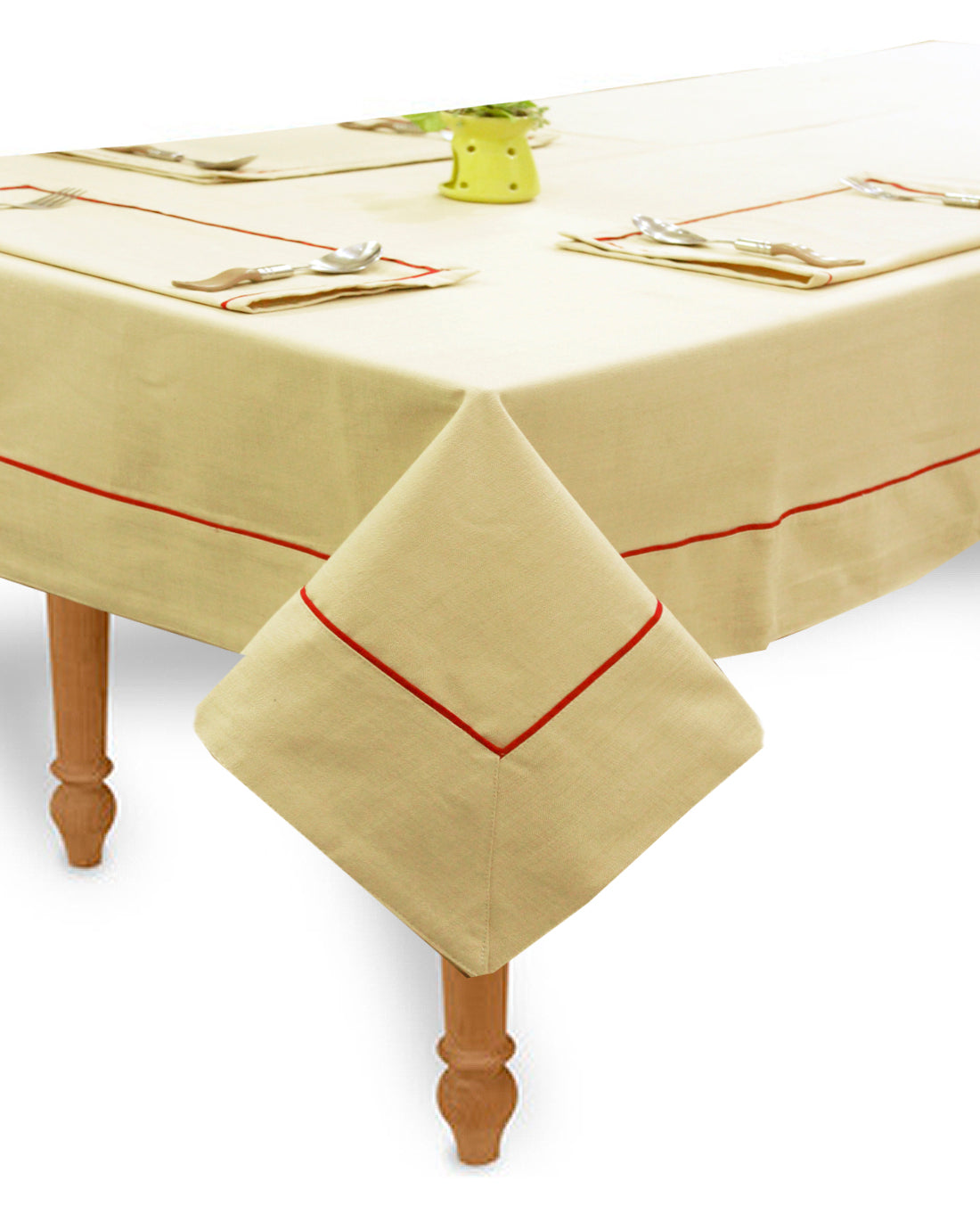 "AURAVE Woven Cotton 200 TC 60""x90"" Plain Table Cover (Beige)"