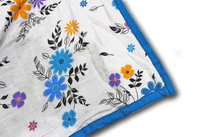 AURAVE Riva Floral Pattern Cotton 1 Pc AC Dohar, Blue