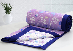 AURAVE Embara Cotton Floral Pattern Reversible Dohar,1 Piece - Purple