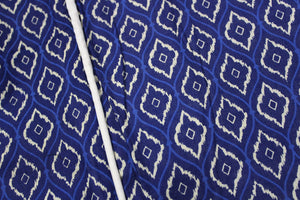 AURAVE Elba Printed Ikat Cotton Bolster Cover - Blue