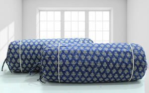 AURAVE Elba Printed Floral Cotton Bolster Cover - Blue