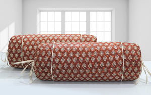 AURAVE Elba Printed Floral Cotton Bolster Cover - Rust