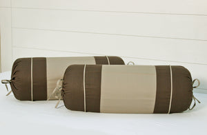 AURAVE Textured Cotton 2 Pcs Bolster Cover, Coffee