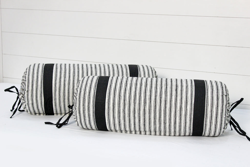 "AURAVE Woven Cotton Chennile 144 TC Bolster Cover (15""x30""_Black)"