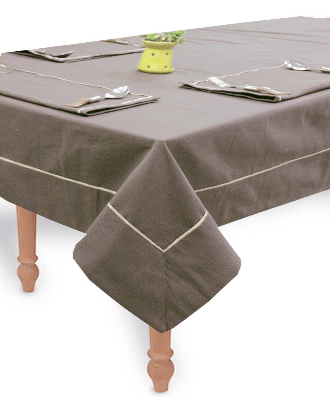 "AURAVE Woven Cotton 200 TC 60""x90"" Plain Table Cover (Coffee)"