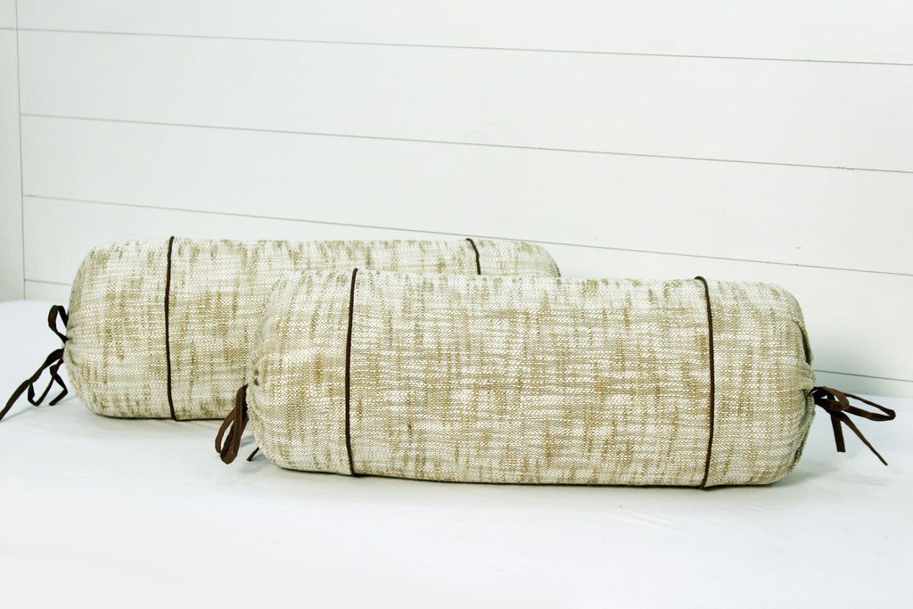 AURAVE Handloom Woven Cotton Beige & Brown 2 Pcs Bolster Covers