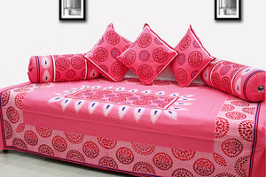 AURAVE Festive Colors Multicolor Diwan Set Cover - PINK