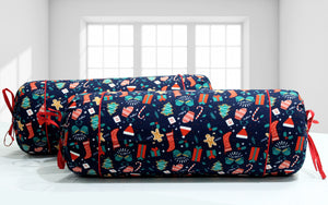 AURAVE Funky Print Cotton Flannel 2 Pcs Bolster Cover