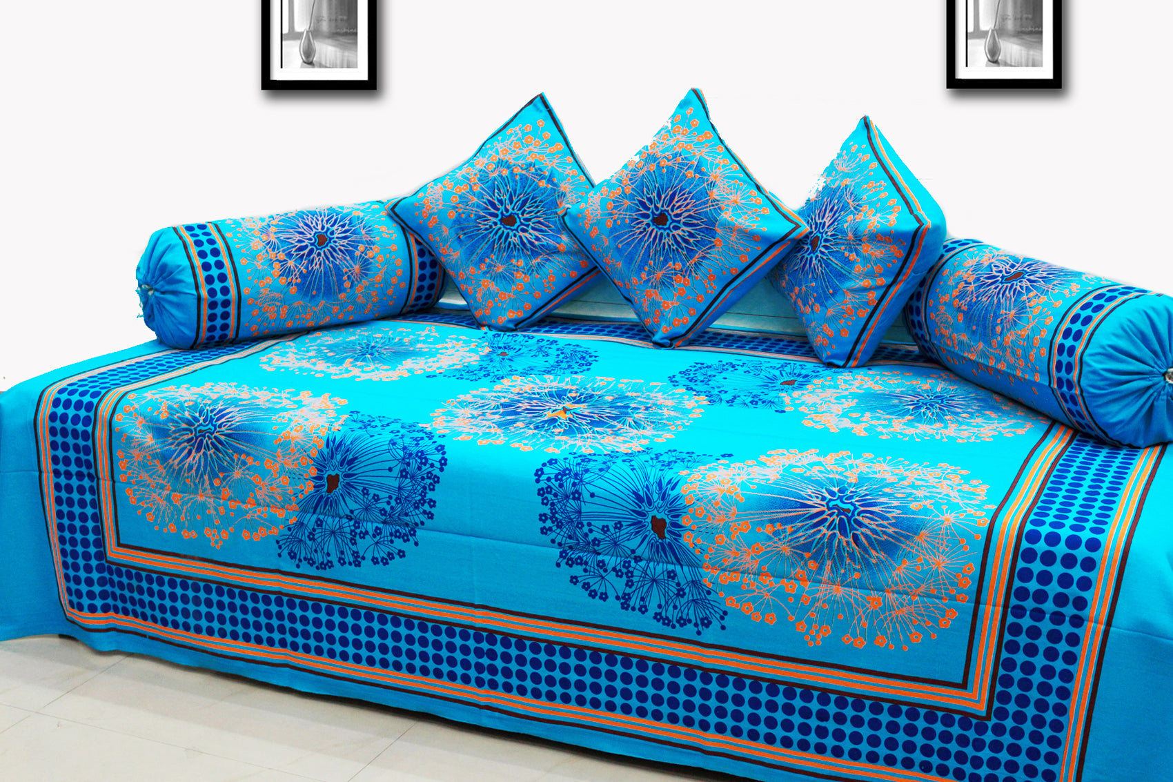 AURAVE Festive Colors Multicolor Diwan Set Cover - BLUE