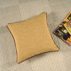 Woven Cotton Corded Stripe Cushion Cover - Mehndi & Gold
