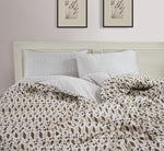 AURAVE Brown Ikat Geometrical Design 300 TC Cotton Satin Reversible Duvet Cover