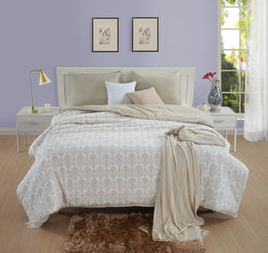 AURAVE Beige & Cream Traditional Motif Design 300 TC Cotton Satin Reversible Duvet Cover