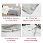 AURAVE Reversible 400 TC Dual Color Coffee Brown/Beige Cotton Satin Luxurious Duvet Cover/Quilt