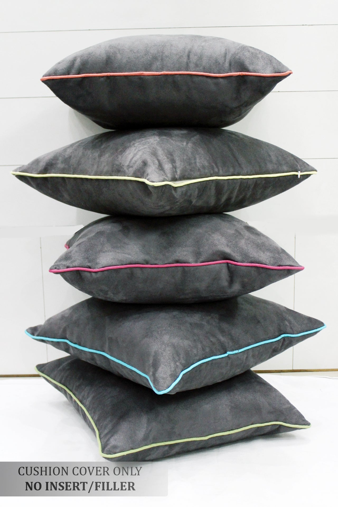 AURAVE Suede Velvety Cushion Cover for Sofa/Couch (16 X 16 inches)- 5 Pieces Set - Grey