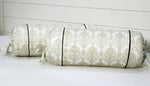 AURAVE Beige Paisley Motif Design 300 TC Cotton Satin Bolster Cover