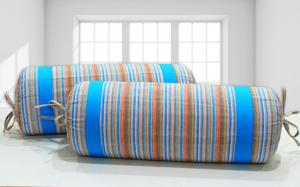 AURAVE Multicolor Stripes Woven Cotton 2 Pcs Bolster Covers, Blue