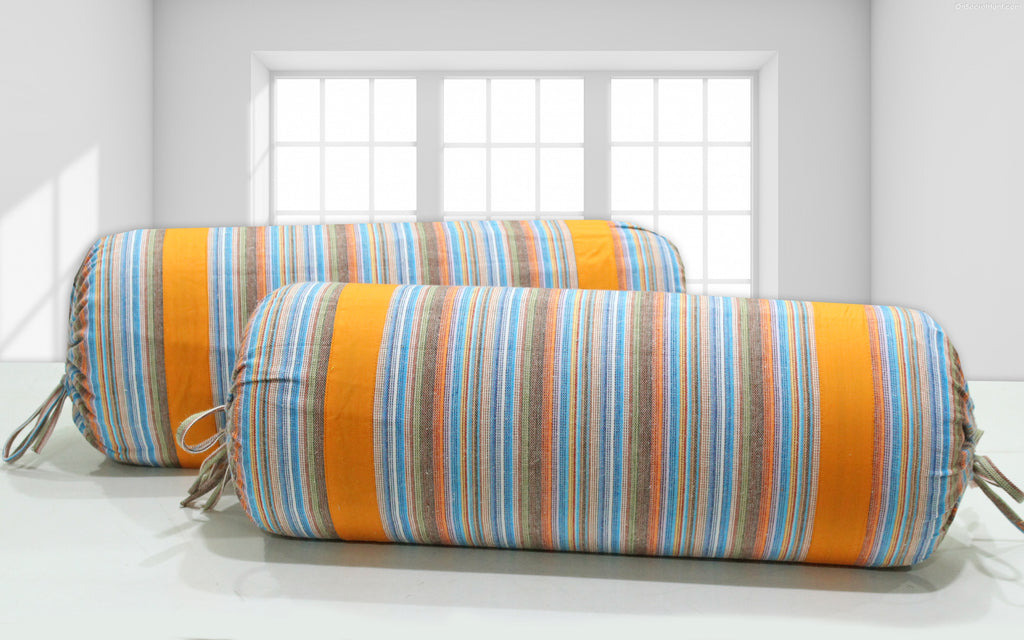 AURAVE Multicolor Stripes Woven Cotton 2 Pcs Bolster Covers, Orange