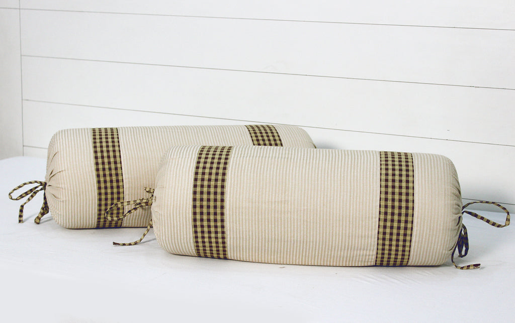 "AURAVE Woven Cotton Stripe Checks 144 TC Bolster Cover (15""x30""_Beige)"