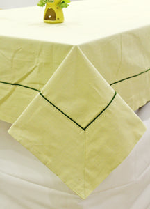 Woven Cotton 200 TC Plain Table Cover (Light Yellow)
