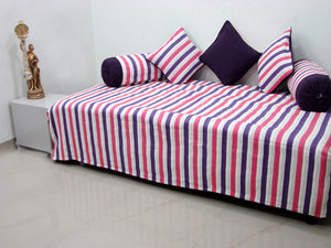Mercerised Woven Cotton Stripes 6 Piece Diwan Set, Pink & Purple