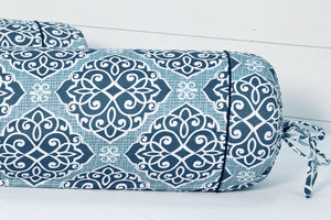 AURAVE Blue Modern Art 300 TC Cotton Satin Bolster Cover