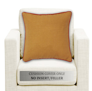 Woven Cotton Corded Stripe Cushion Cover - Mustard