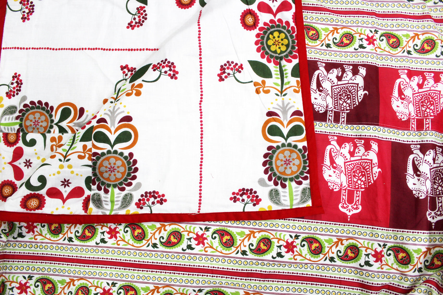 AURAVE Riva Traditional Pattern 1 Pc Reversible Combed Cotton AC Dohar, Red