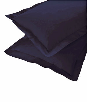 AURAVE Excel Cotton 2 Pieces Plain Pillow Cover Set - 18 X 27 inches, Navy Blue